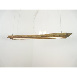 ED Hängelampe Holz antik Balken mit Ober- Unterlicht ~ 117 cm