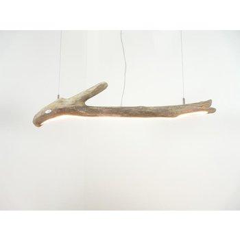 petite lampe suspendue LED bois flotté ~ 88 cm