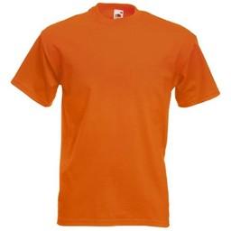 12 kwaliteit's oranje T-shirts van Fruit of the Loom. Keuze uit S t/m 3 XL Opdruk mogelijk. (Ook andere kleuren leverbaar)