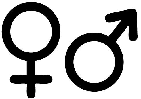 Man vrouw symbool deursticker