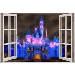 Open raam princess kasteel muursticker full color