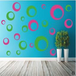 Retro cirkels 2 kleurig muursticker
