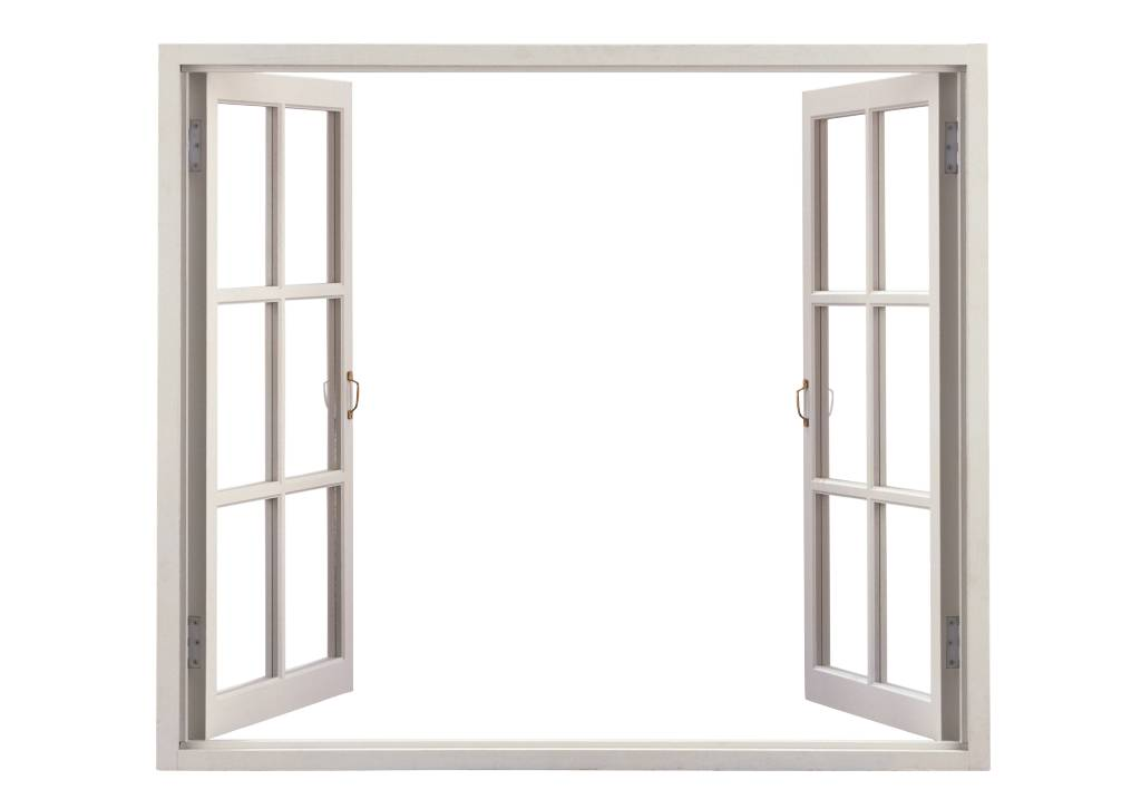 Ontwerp je eigen open raam uitzicht muursticker full color