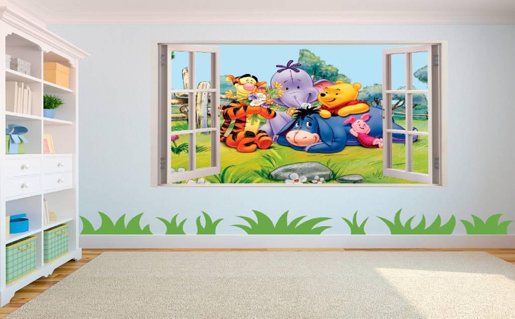 Muursticker Winnie The Pooh.Open Raam Uitzicht Op Winnie De Pooh En Vriendjes Muursticker Full