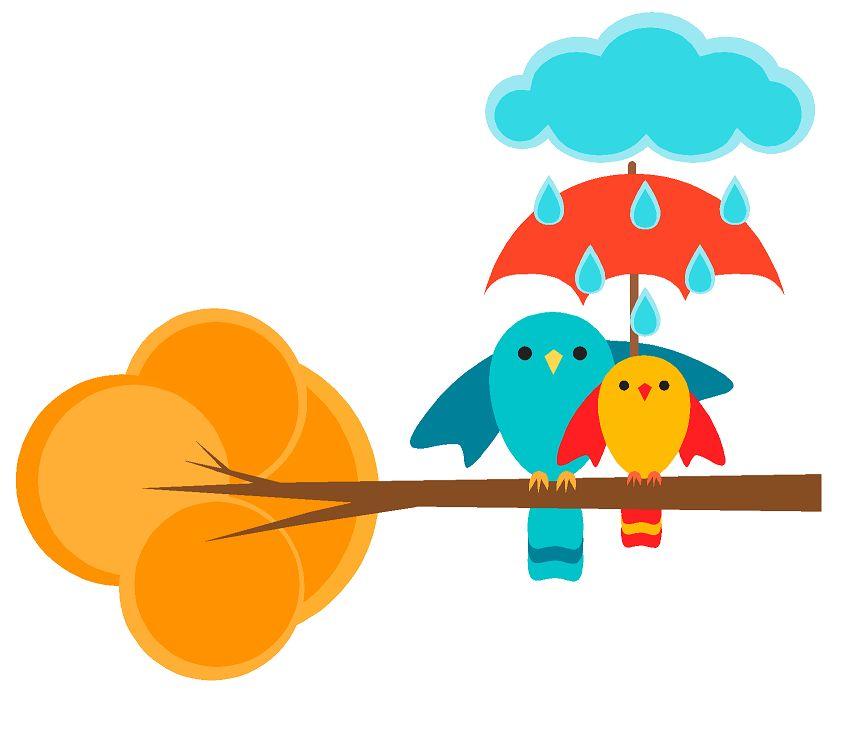 2 vogeltjes op tak in de regen full color muursticker