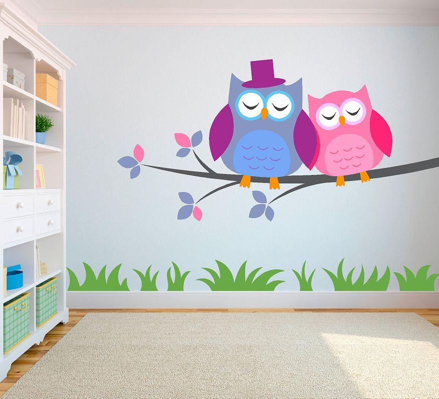 Muurstickers Kinderkamer Uil.2 Uilen Op Tak Slapen Full Color Muursticker Qualitysticker