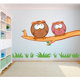Crazy owls 1 (gekke uilen) full color muursticker