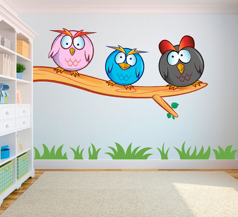 Crazy owls 2 (gekke uilen) full color muursticker