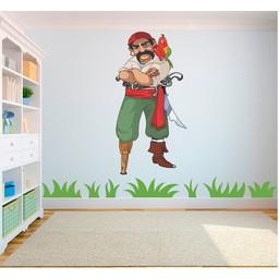Piraat met hoten poot en papegaai full color muursticker