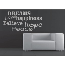 Dreams love happiness believe hope peace muursticker