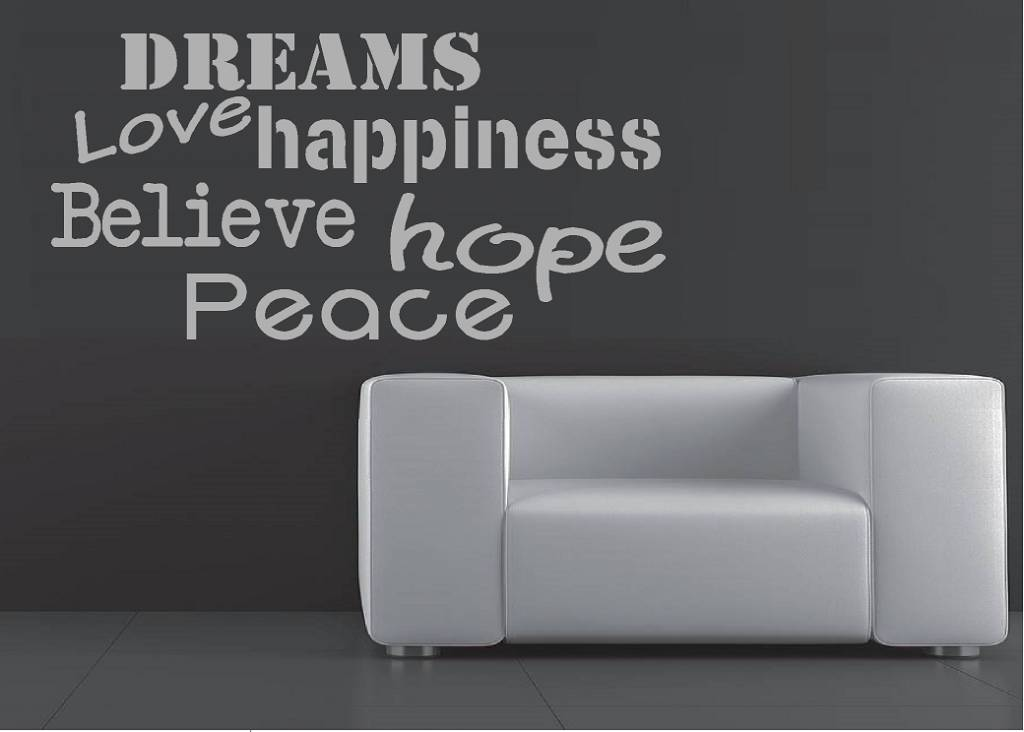 Dreams hope happiness believe hope peace muursticker
