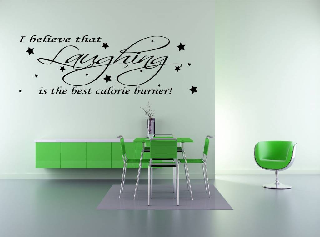 Audrey Hepburn - Calorie Burner, I believe that lauging is the best calorie burner. Muursticker / Interieursticker