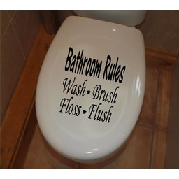 Bathroom rules, wash, brush, floss, flush toilet sticker 25 x 25 cm
