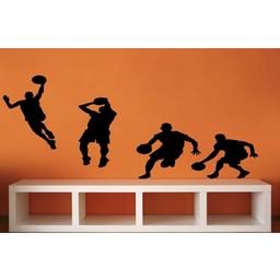 Groep basketbal spelers muursticker