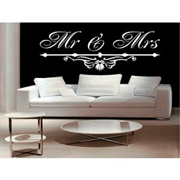 Mr & Mrs met ornament muursticker