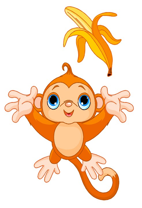 Baby aap vangt banaan muursticker