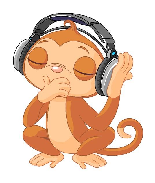 Aapje luisterd naar muziek Muursticker