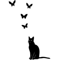 Poes met vlinders muursticker
