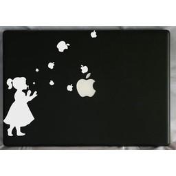 Meisje blaast apple appels laptop sticker