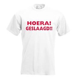 Hoera! Geslaagd!!. Keuze uit T-shirt of Polo en div. kleuren. S t/m 8 XL