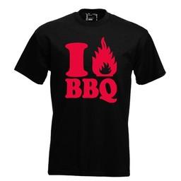 I love BBQ. Keuze uit T-shirt of Polo en div. kleuren. S t/m 8 XL