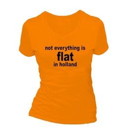 Not everything is flat in holland. Dames T-shirt in div. kleuren. XS t/m 4 XL