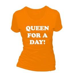 Queen for a day!. Dames T-shirt in div. kleuren. XS t/m 4 XL