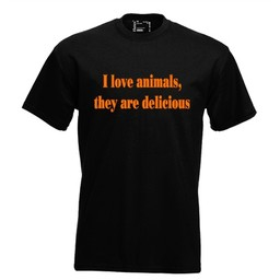 I love anymals, they are delicious. Dames T-shirt in div. kleuren. XS t/m 4 XL