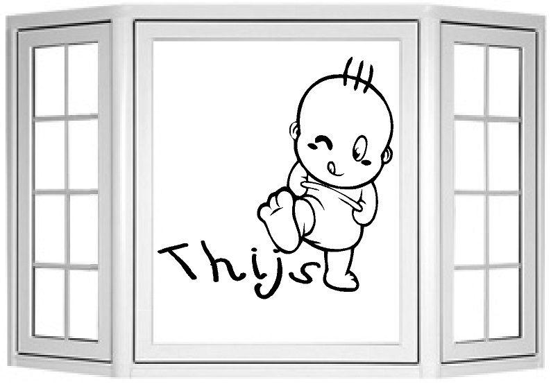 Geboorte naamsticker voor op het raam