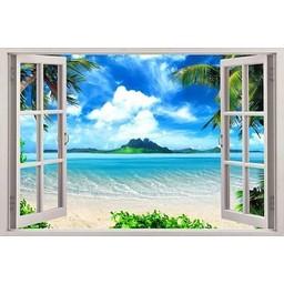 Open raam met uitzicht op een exotisch strand muursticker full color