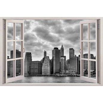 Open raam met uitzicht op new York muursticker full color