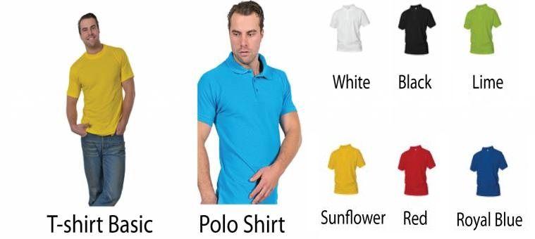 Eigen ontwerp shirt. Keuze uit T-shirt of Polo en div. kleuren.