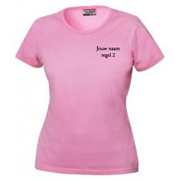 Dames Bedrijfs shirt met bedrijfsnaam . Dames T-shirt. div. kleuren. XS t/m 4 XL.