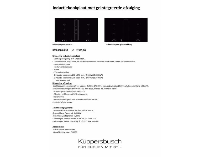 Küppersbusch KMI8500.0SR inductiekookplaat met afzuiging