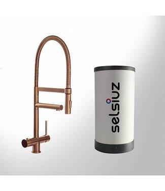 Selsiuz Copper XL Rond 3 in 1 kookkraan met SOLO boiler 5 liter