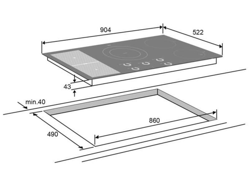 Atag HI9571SV inductie-kookplaat 90cm