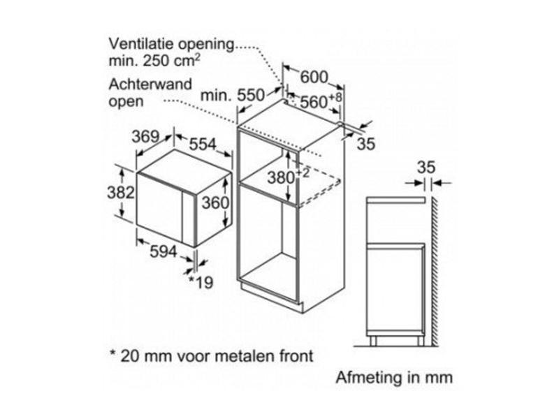 Siemens BF550LMR0 inbouw magnetron nis 38