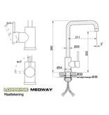 Lorreine Medway-GunMetal keukenmengkraan