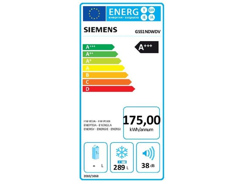 Siemens GS51NDWDV vrijstaande vrieskast