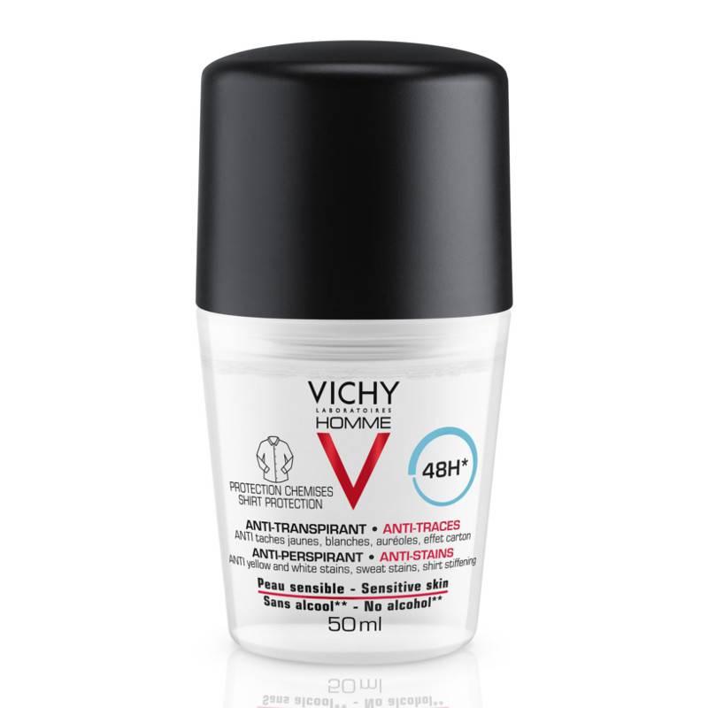 Image of Vichy Homme Anti-transpirant Deodorant 48u Anti-witte en Gele Vlekken roller - 2x50ml