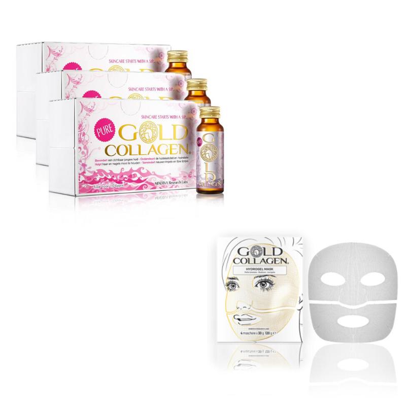 Image of Gold Collagen® Pure - 30 dagen kuur + Hydrogel Mask - 4st