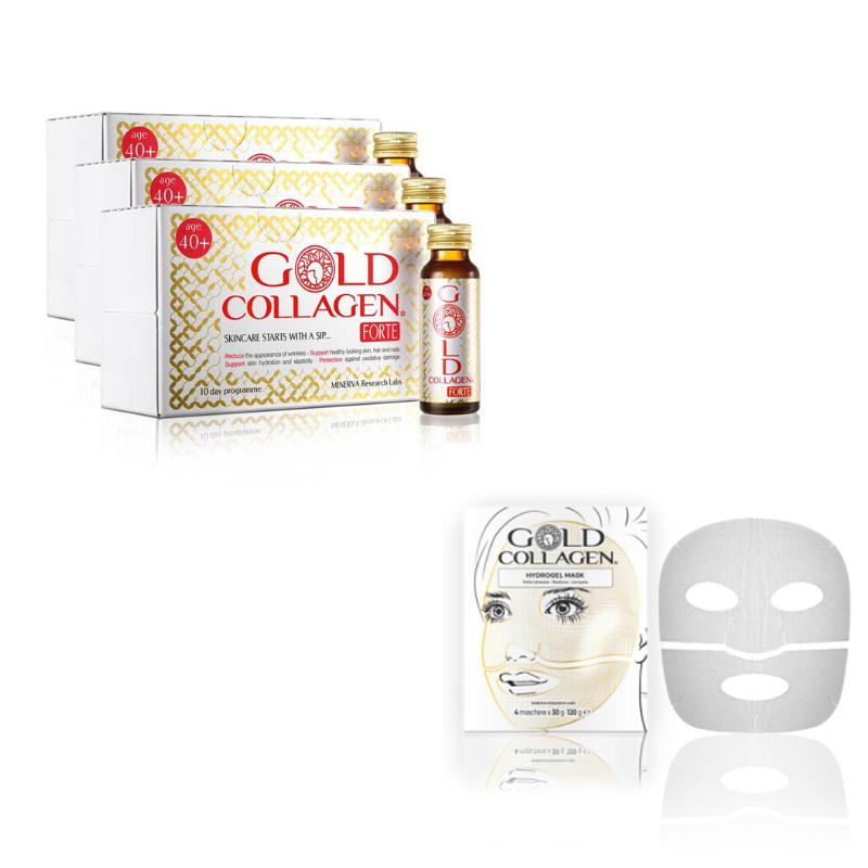 Image of Gold Collagen® Forte - 30 dagen kuur + Hydrogel Mask - 4st