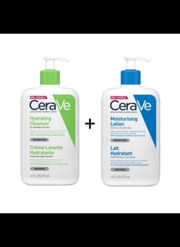 CeraVe CeraVe Hydraterende Reinigingscrème - 473ml + CeraVe Hydraterende Melk - 473ml