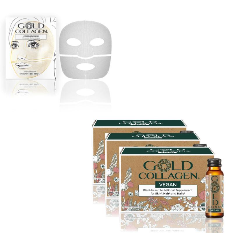 Image of Gold Collagen® Vegan - 30 dagen kuur + Hydrogel Mask - 4st
