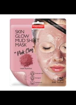 PureDerm PureDerm Skin Glow Mud Sheet Pink Clay Gezichtsmasker