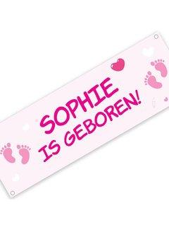 Geboortespandoek met naam en baby voetjes - roze