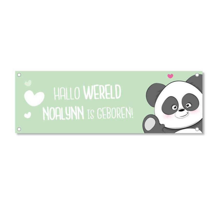 Geboortespandoek lieve panda met naam mint