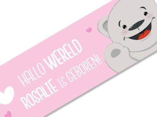 Geboortespandoek lief beertje met naam roze