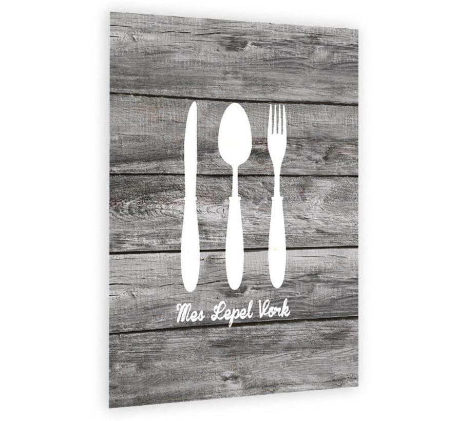 Muurdecoratie keuken: Mes lepel vork