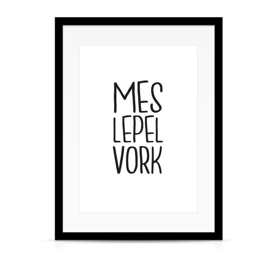 Keuken poster Mes Lepel Vork wit